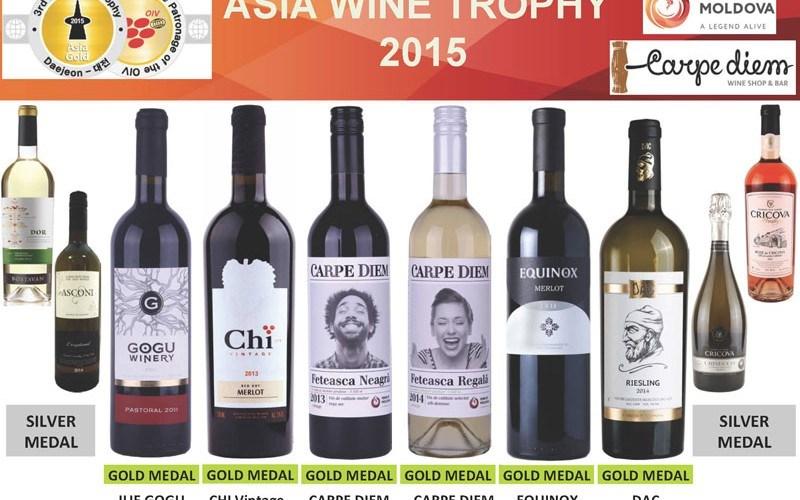 10 vinuri moldovenești, premiate cu aur și argint la cel mai mare concurs de vinuri din Asia
