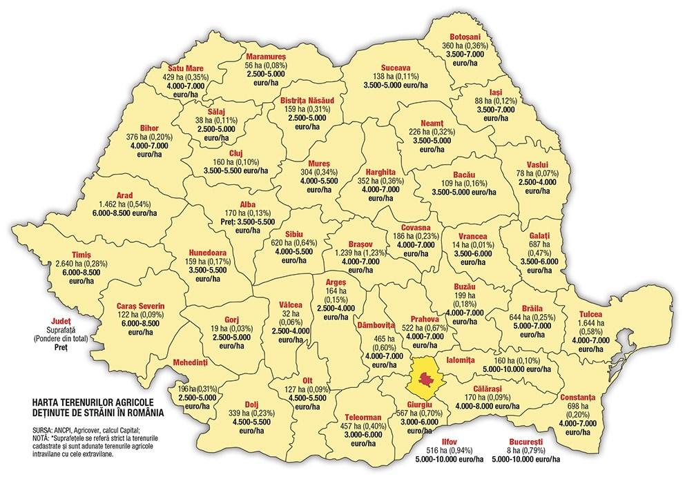 Harta Terenurilor Agricole Deținute De Străini In Romania